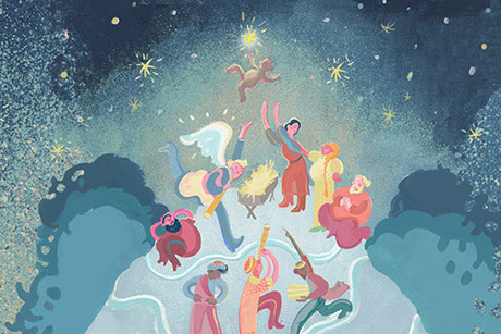 Illustration for The Story Christmas play. Shows scene of delight and jubilation from the nativity.