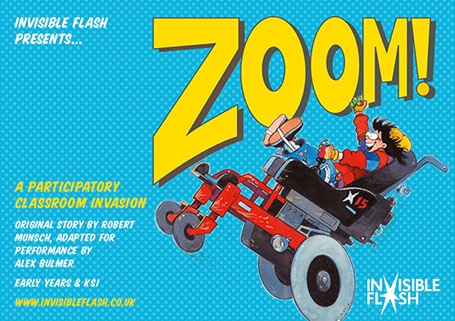 Cartoon image of Lauretta in her wheelchair, zooming fast with a big smile on her face. The word 'Zoom' in big letters behind.